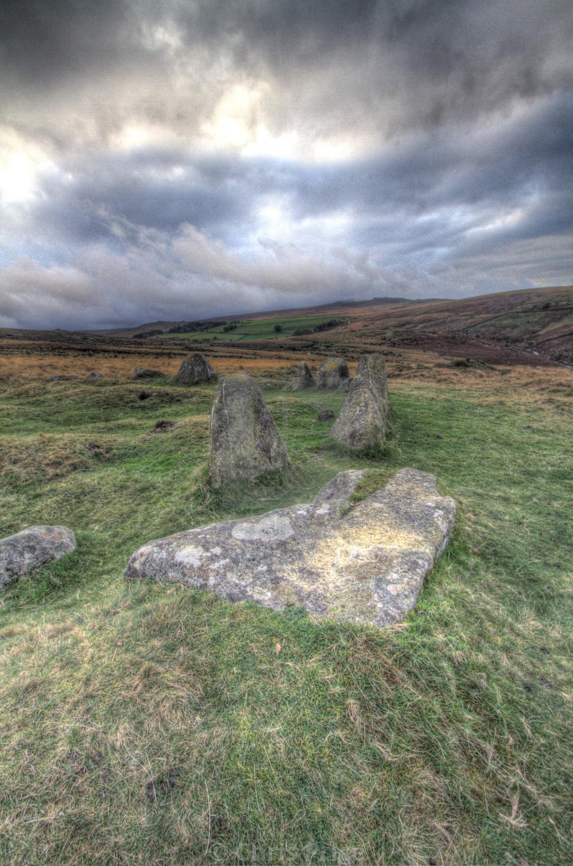 """""""Nine Stones, Belstone, Dartmoor"""" stock image"""