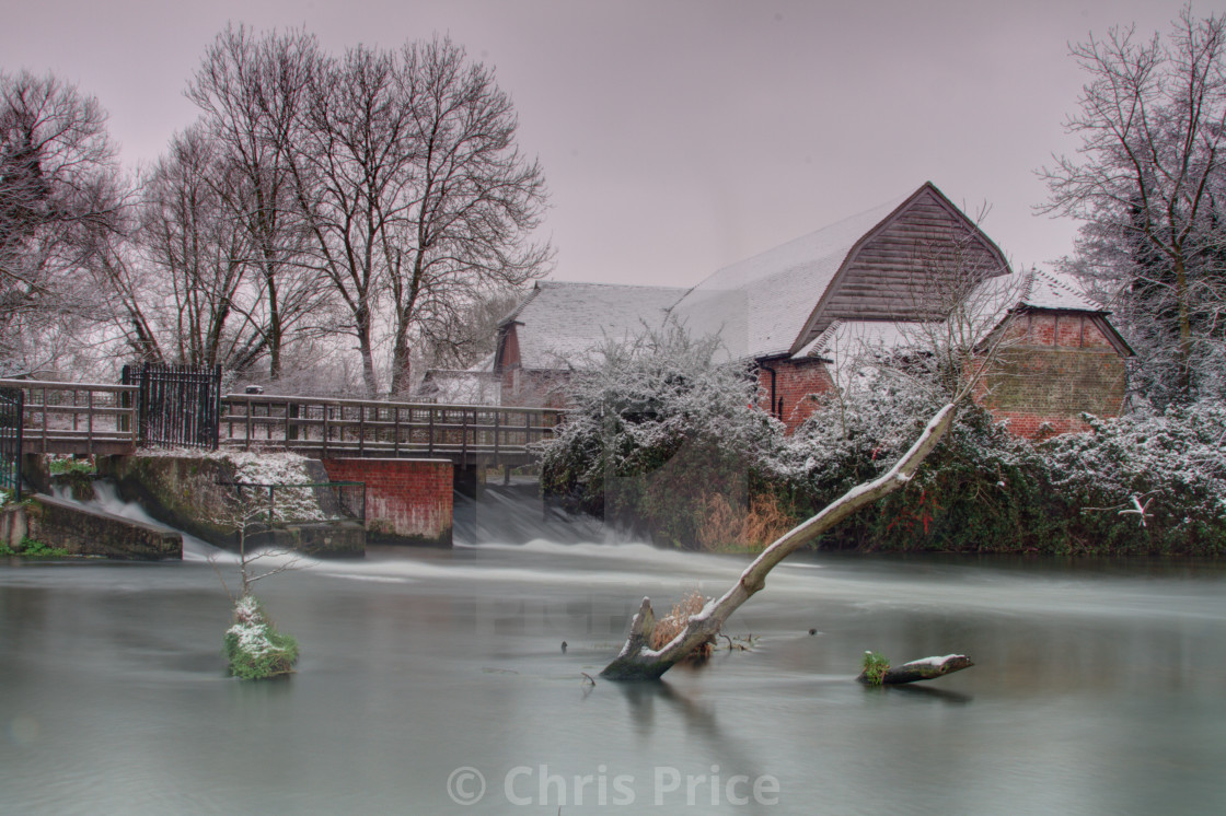"""Sherfield On Loddon after Snowfall"" stock image"