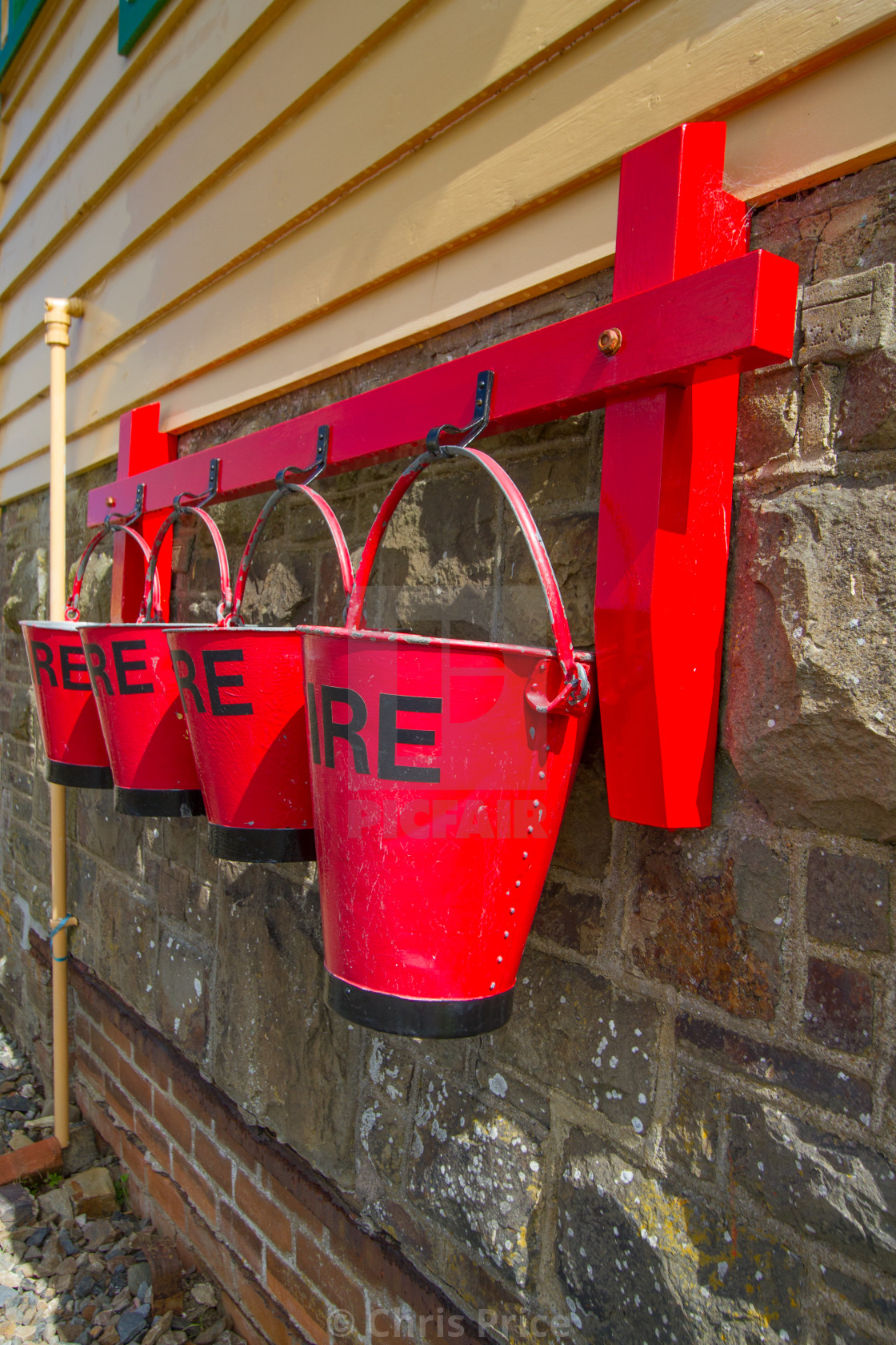 """Fire buckets at SIgnal Box, Instow, Devon"" stock image"