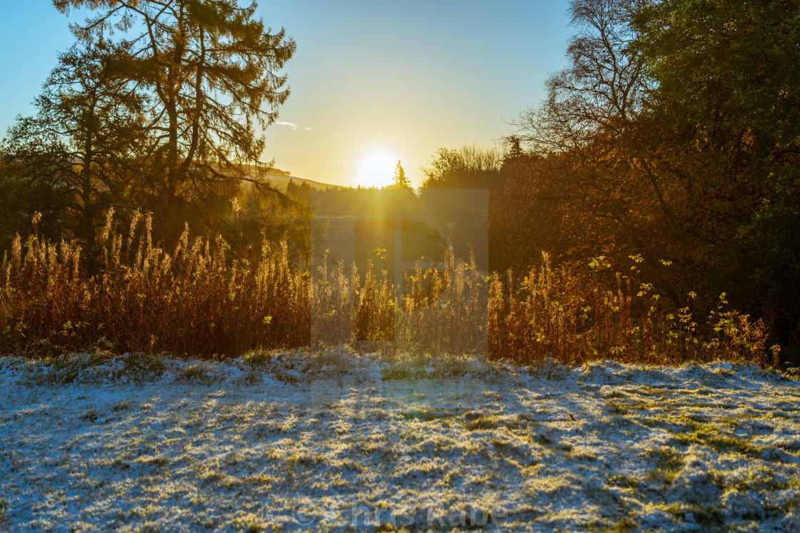 """Sunrise in the area surrounding Kindrogan Field studies centre, Perthshire,..."" stock image"