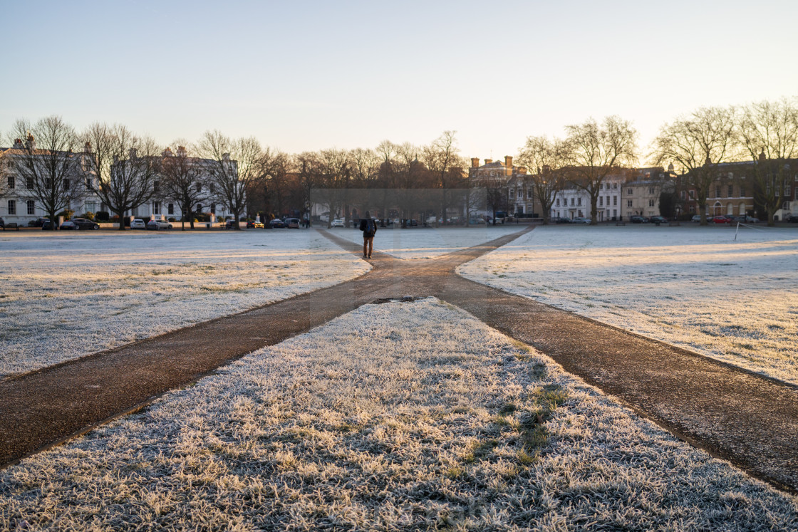 """Richmond green on frosty morning, West London"" stock image"
