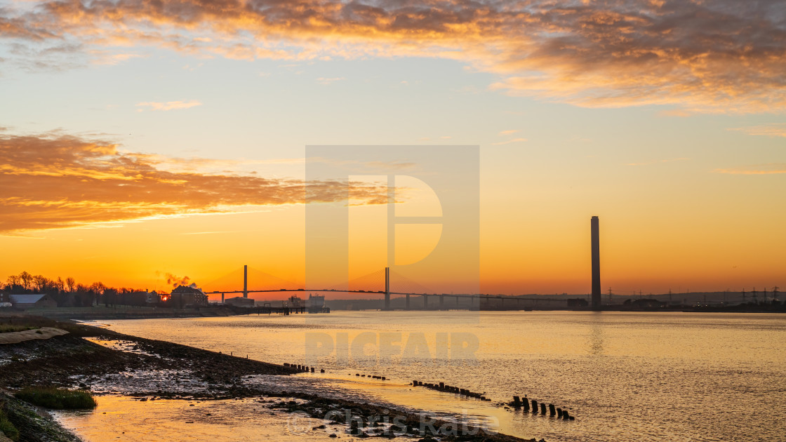 """The River Thames leading towards The Queen Elizabeth II bridge, early..."" stock image"