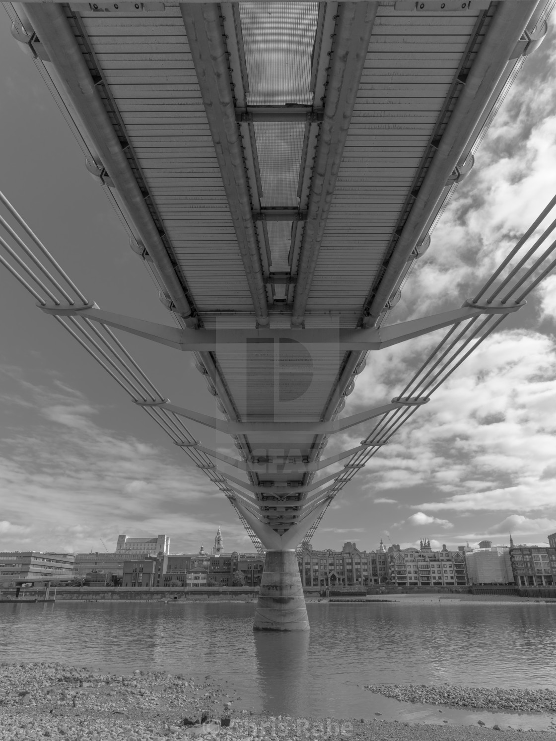 """The Millenium Bridge over the Thames river in Central London"" stock image"