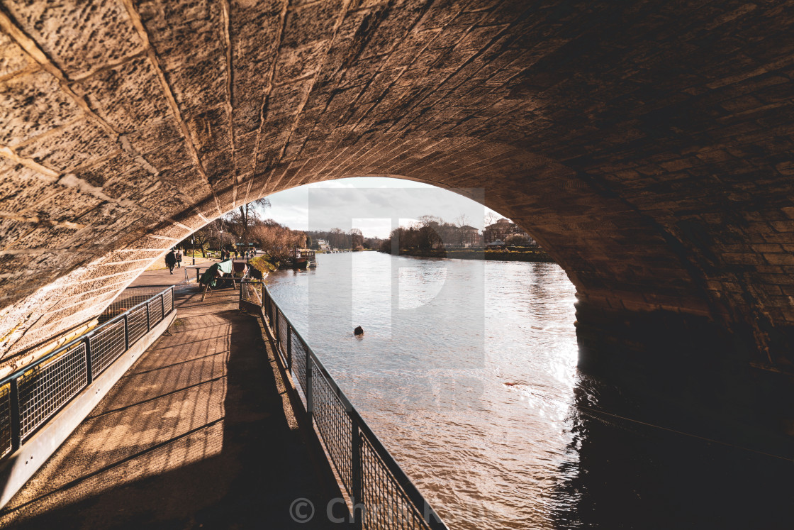 """Richmond, England - January 5 2018 : People walking along the river Thames..."" stock image"