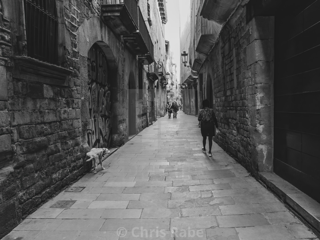 """Barcelona, Spain - January 29 2018: People roaming the narrow st"" stock image"