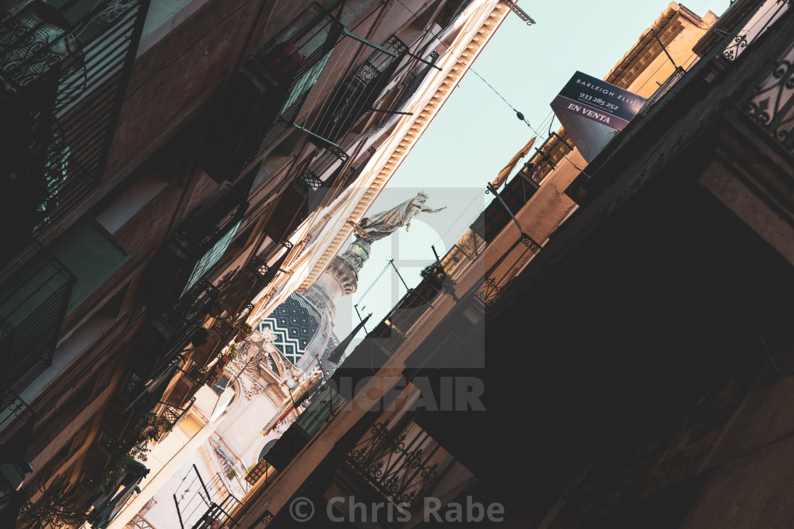 """Barcelona, Spain - 29 January 2018: Basílica de la Mercè viewed through the..."" stock image"