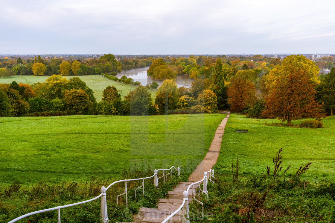 """Richmond Hill looking down over the River Thames in Surry, West London, England"" stock image"
