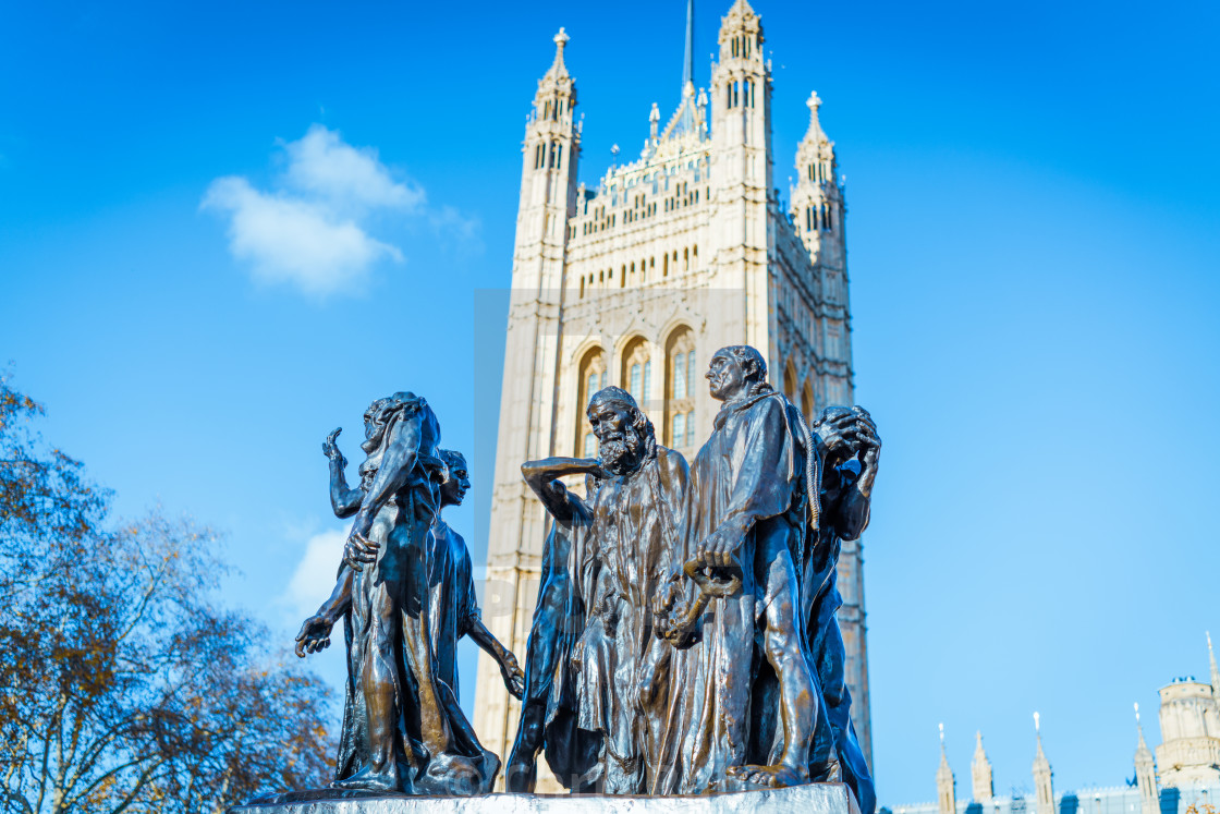 """London, England - November 29 2019 : The Burghers of Calais statue outside of..."" stock image"