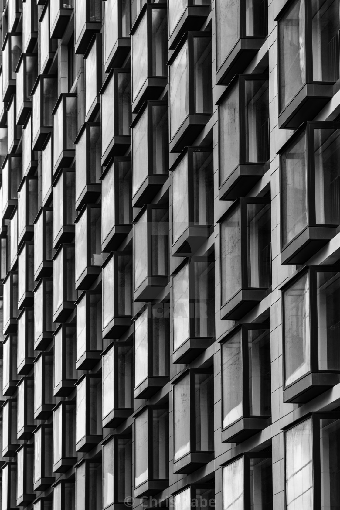 """Abstract architectural image of the exterior windows of a building in London,..."" stock image"