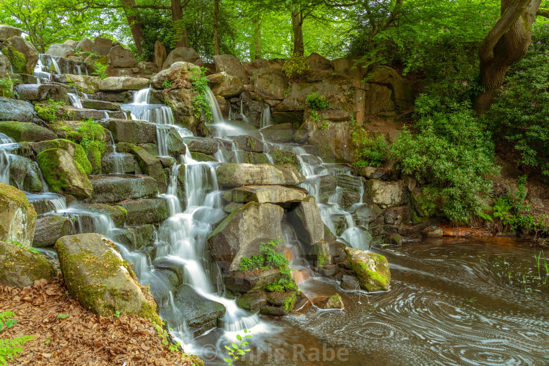 """The cascades waterfall at Virginia Water Lake, Windsor Great Park, Berkshire,..."" stock image"