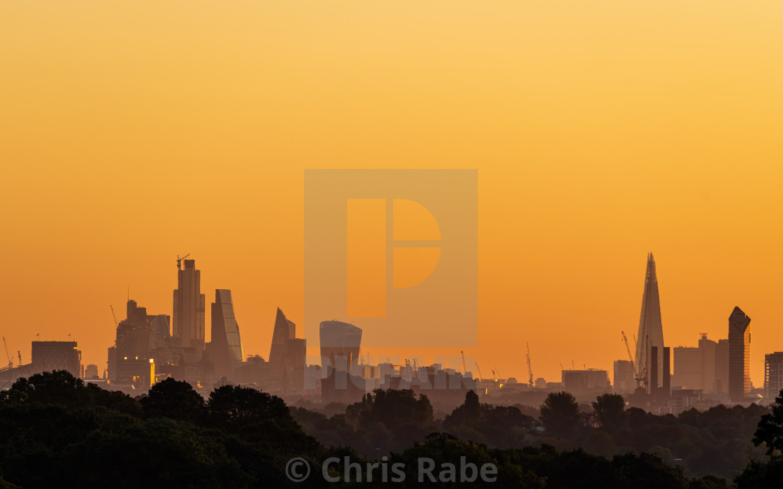 """""""London city skyline early at dawn on an early autumn morning"""" stock image"""