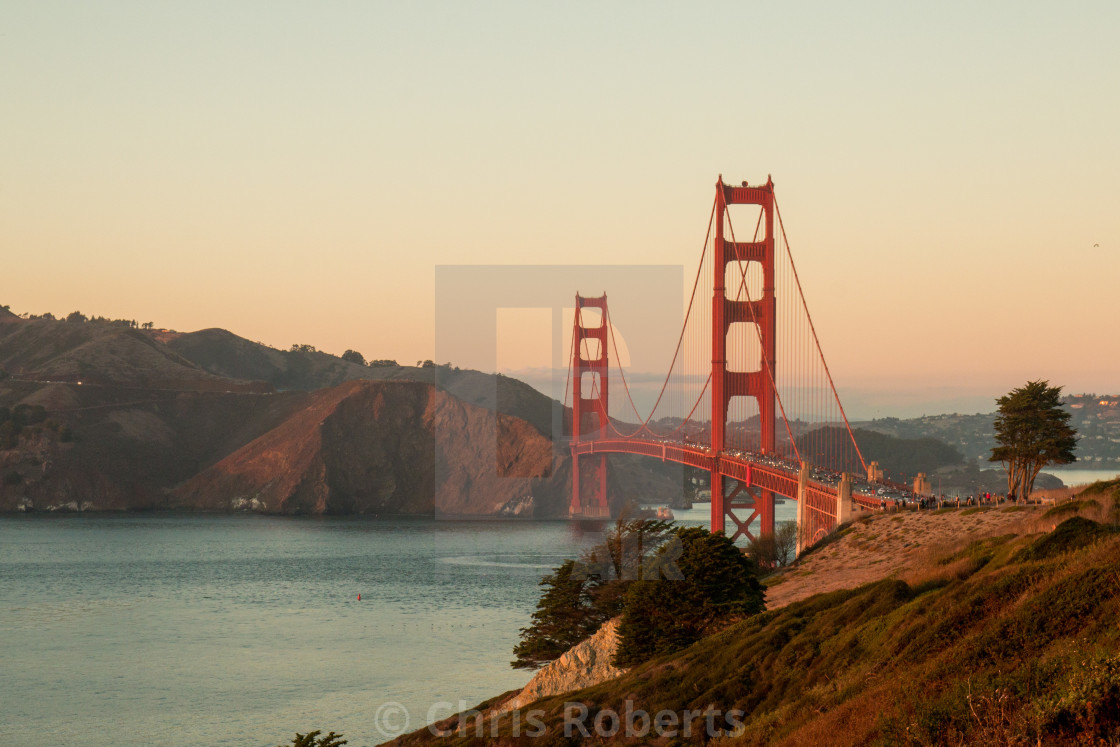 """Golden Gate Bridge at dusk"" stock image"