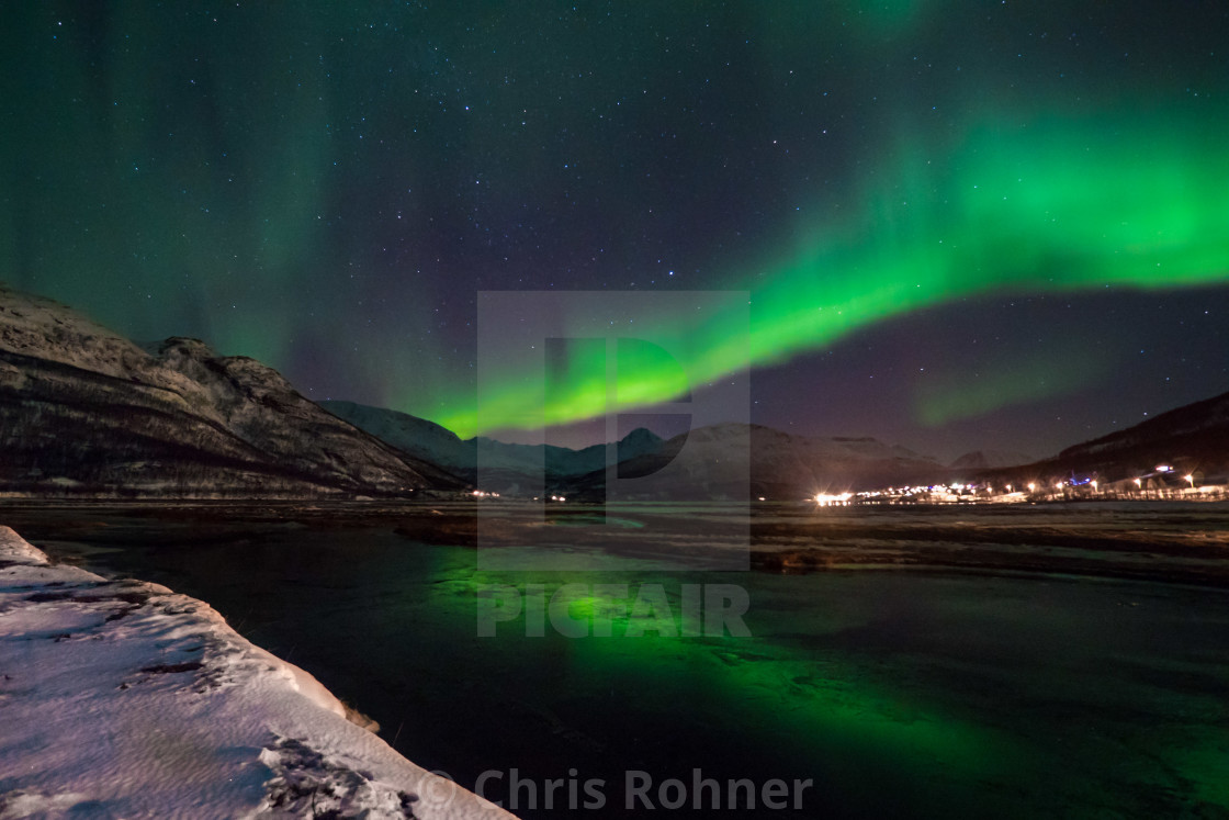 """Aurora over a fjord"" stock image"