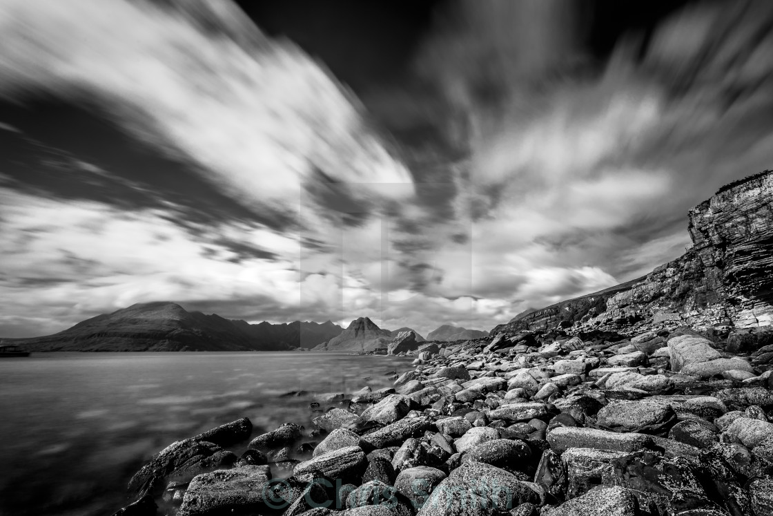 """Cullin Mountain Range as seen from Elgol Beach - Black and White"" stock image"