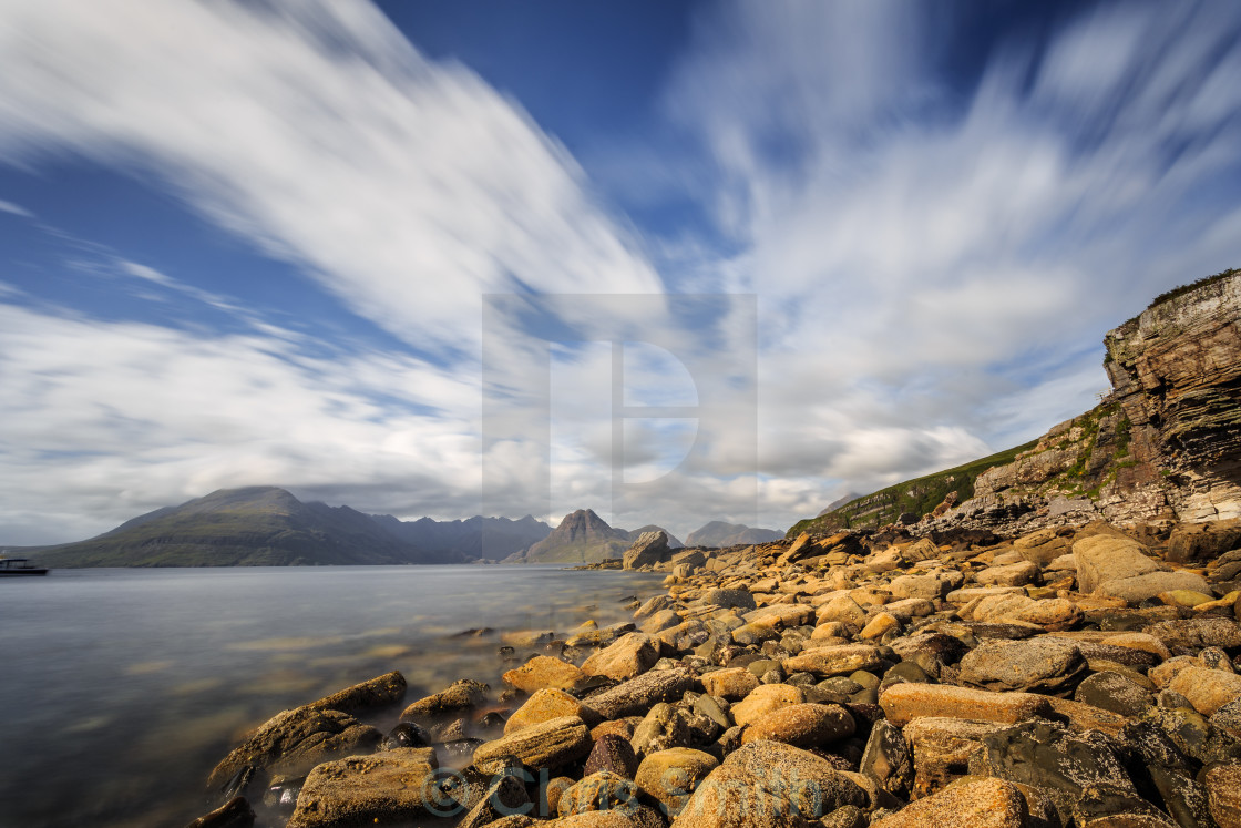 """Cullin Mountain Range as seen from Elgol Beach"" stock image"