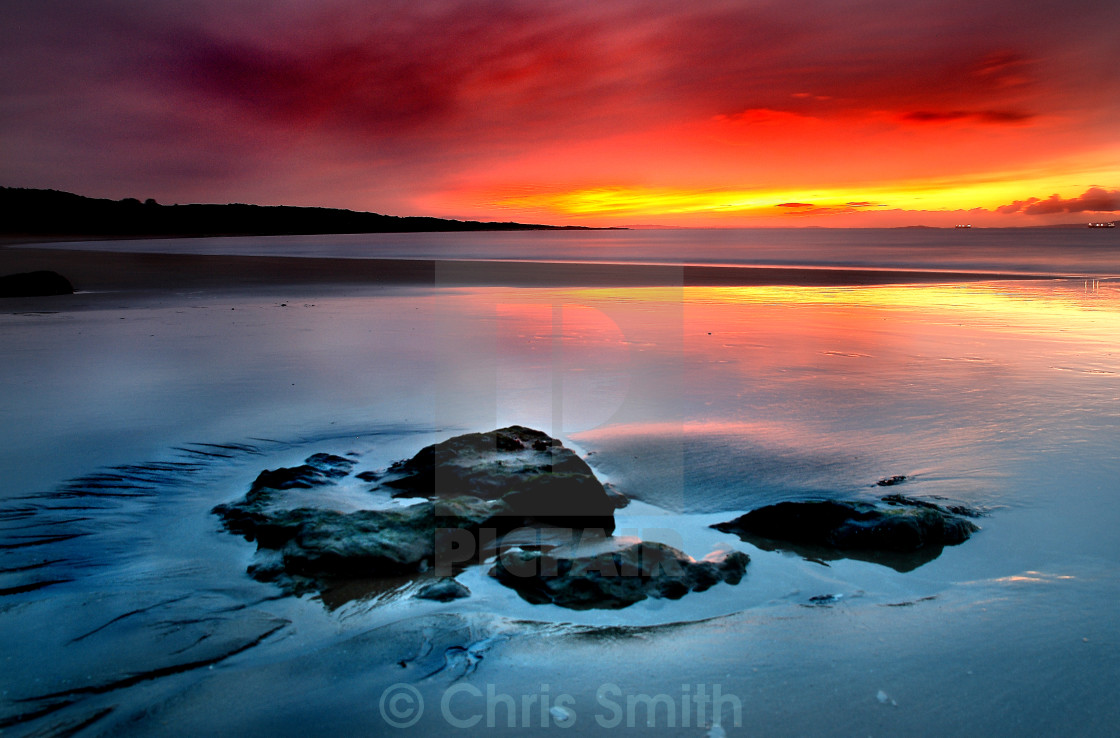 """""""Gullane Bay Sunset - North Berwick"""" stock image"""