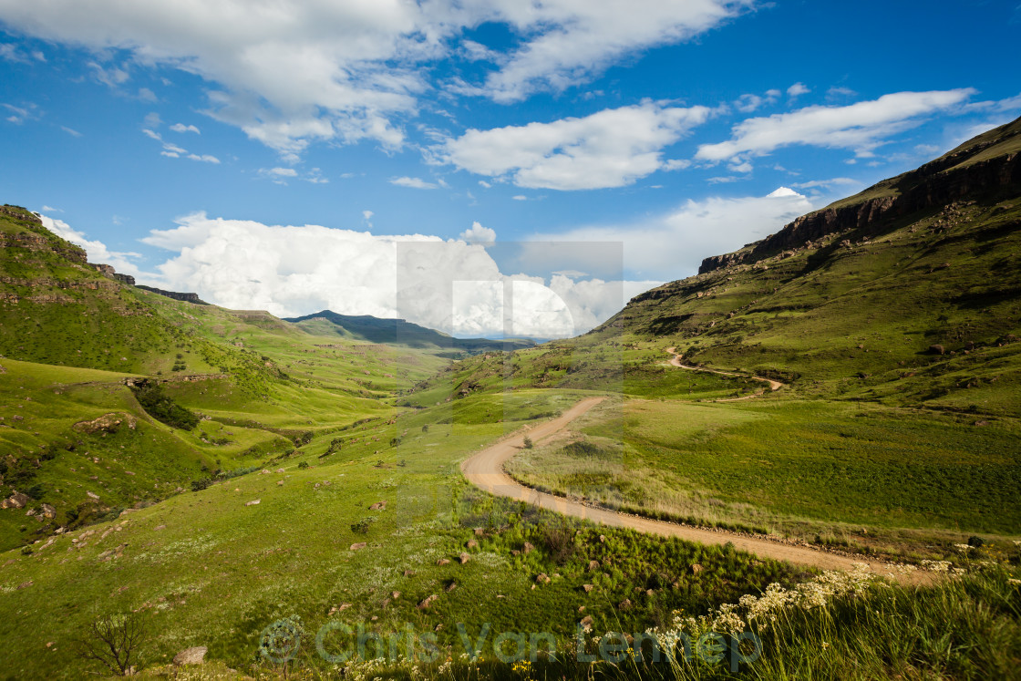"""Mountain Dirt Road Valley Summer"" stock image"