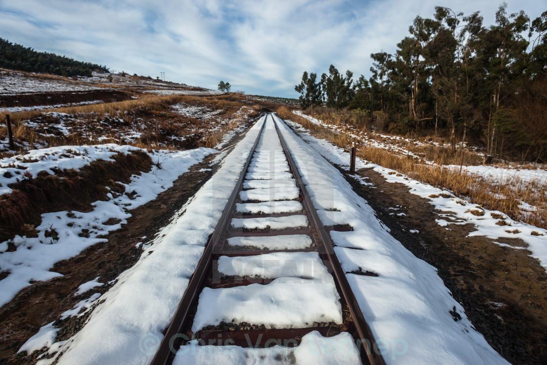"""Rail Tracks Snow Landscape"" stock image"