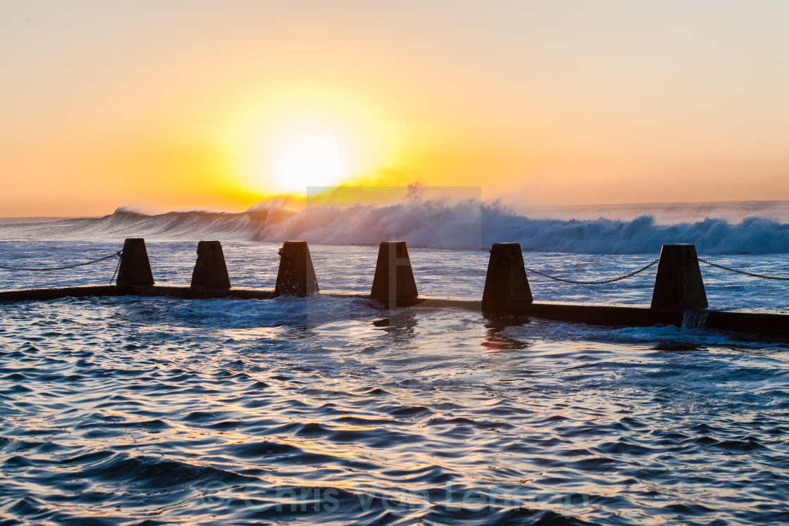 """Ocean Waves Sunrise Tidal Pool"" stock image"