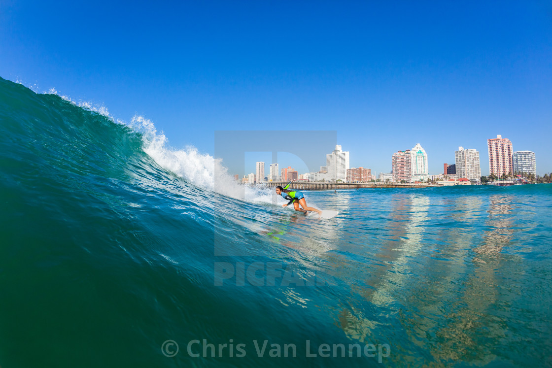 """Surfer Girl Water Action"" stock image"