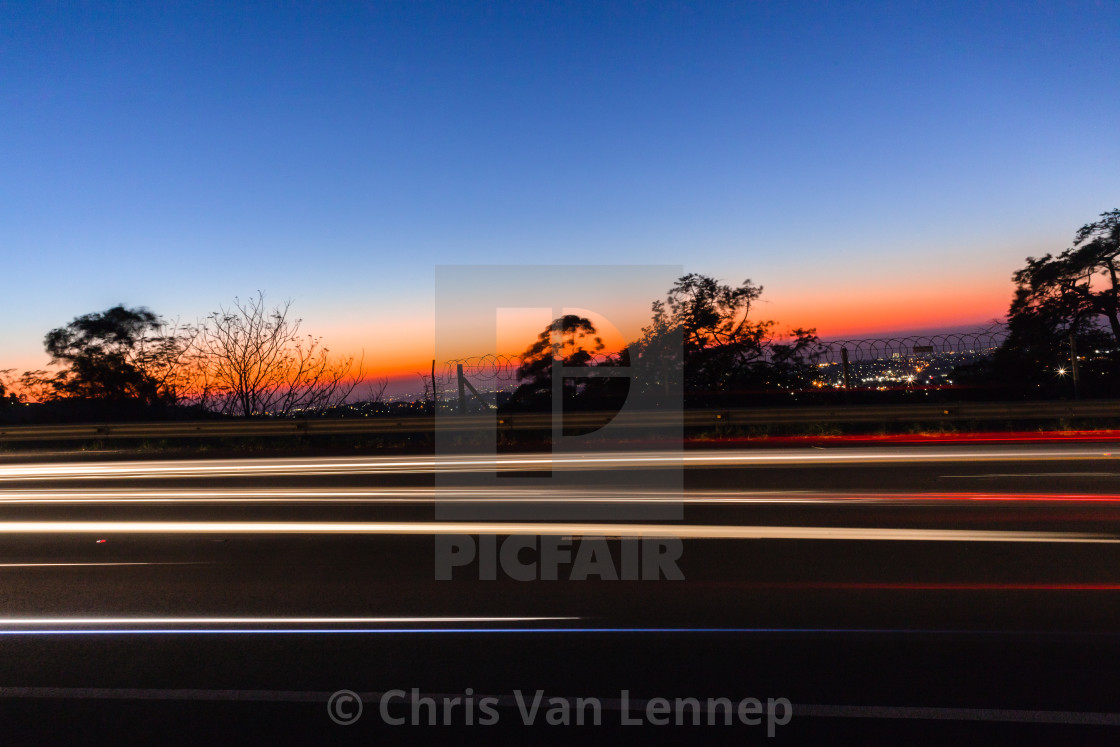 """Vehicles Speed Blurs Dawn"" stock image"