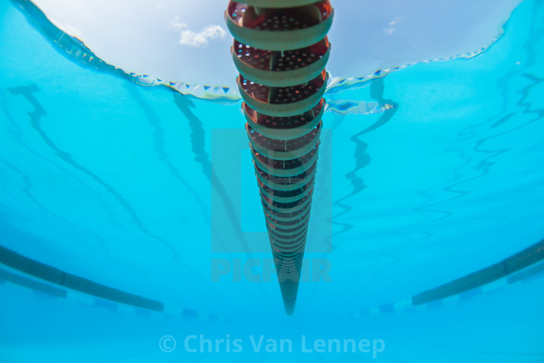 """Swimming Pool Lane Ropes Underwater"" stock image"