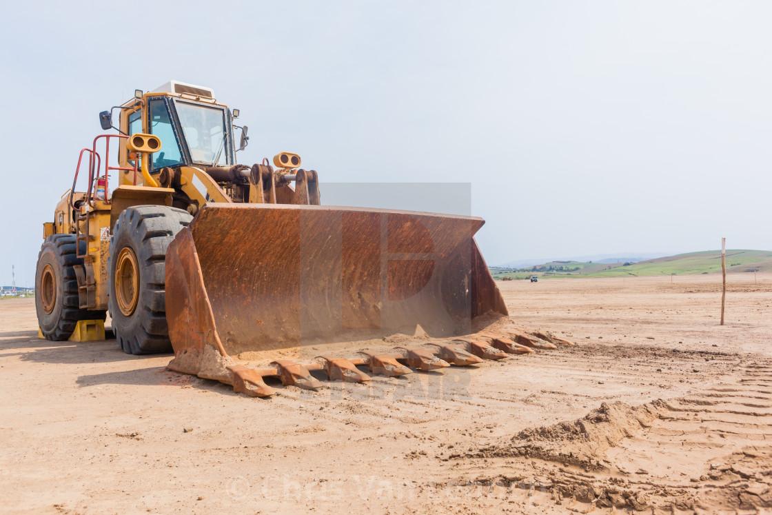 """Industrial Wheel Loader Large Scoop Property Development"" stock image"