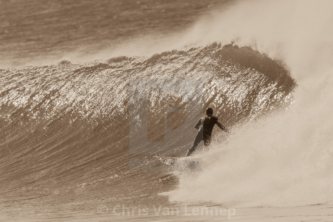 """Surfer Surfing Rides Cold Wave"" stock image"