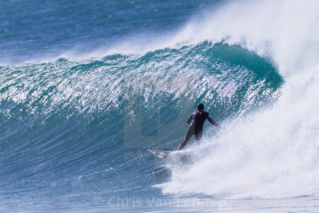 """""""Surfer Surfing Rides Cold Wave"""" stock image"""