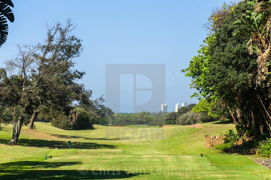 """Golf Course Coastal 1st Hole Landscape."" stock image"