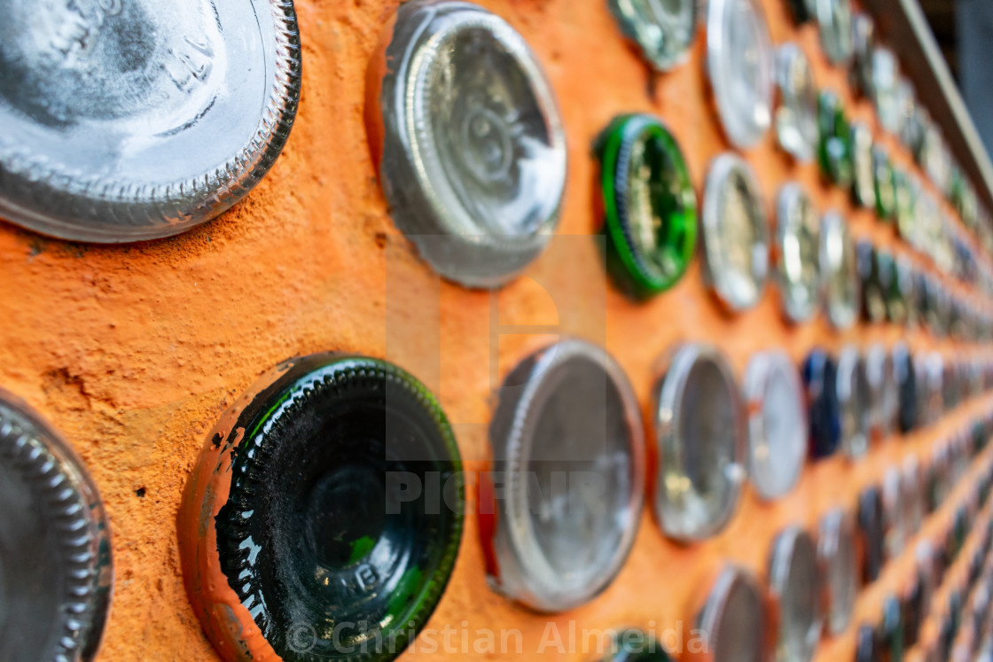 """Wall build with bottles"" stock image"