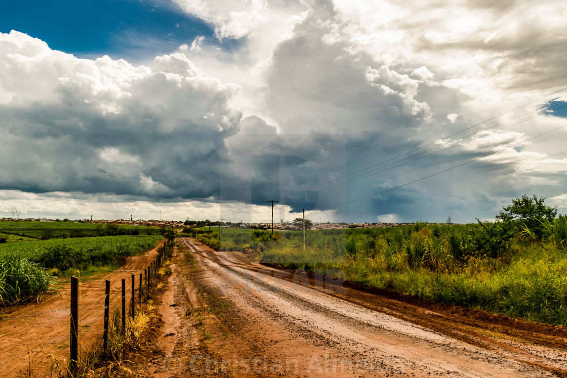 """Dirty road rural view"" stock image"