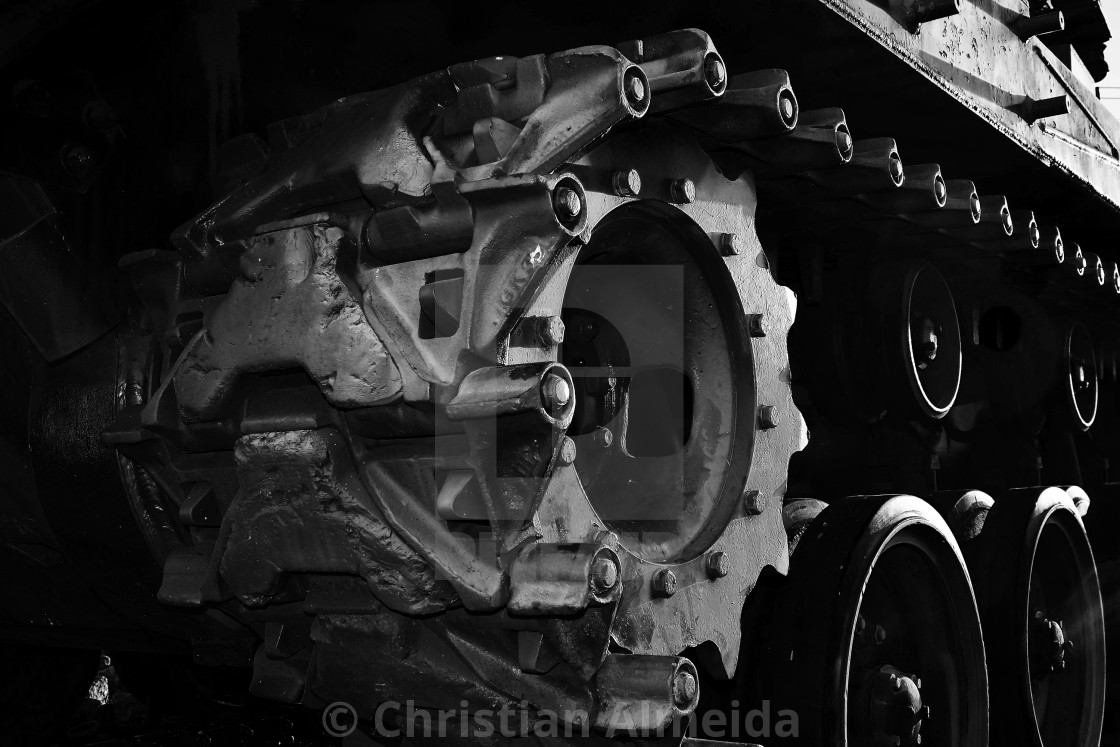 """Abandoned war tank close up"" stock image"