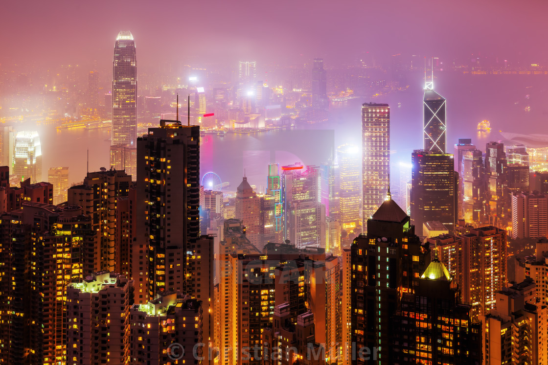 """Hongkong at night"" stock image"