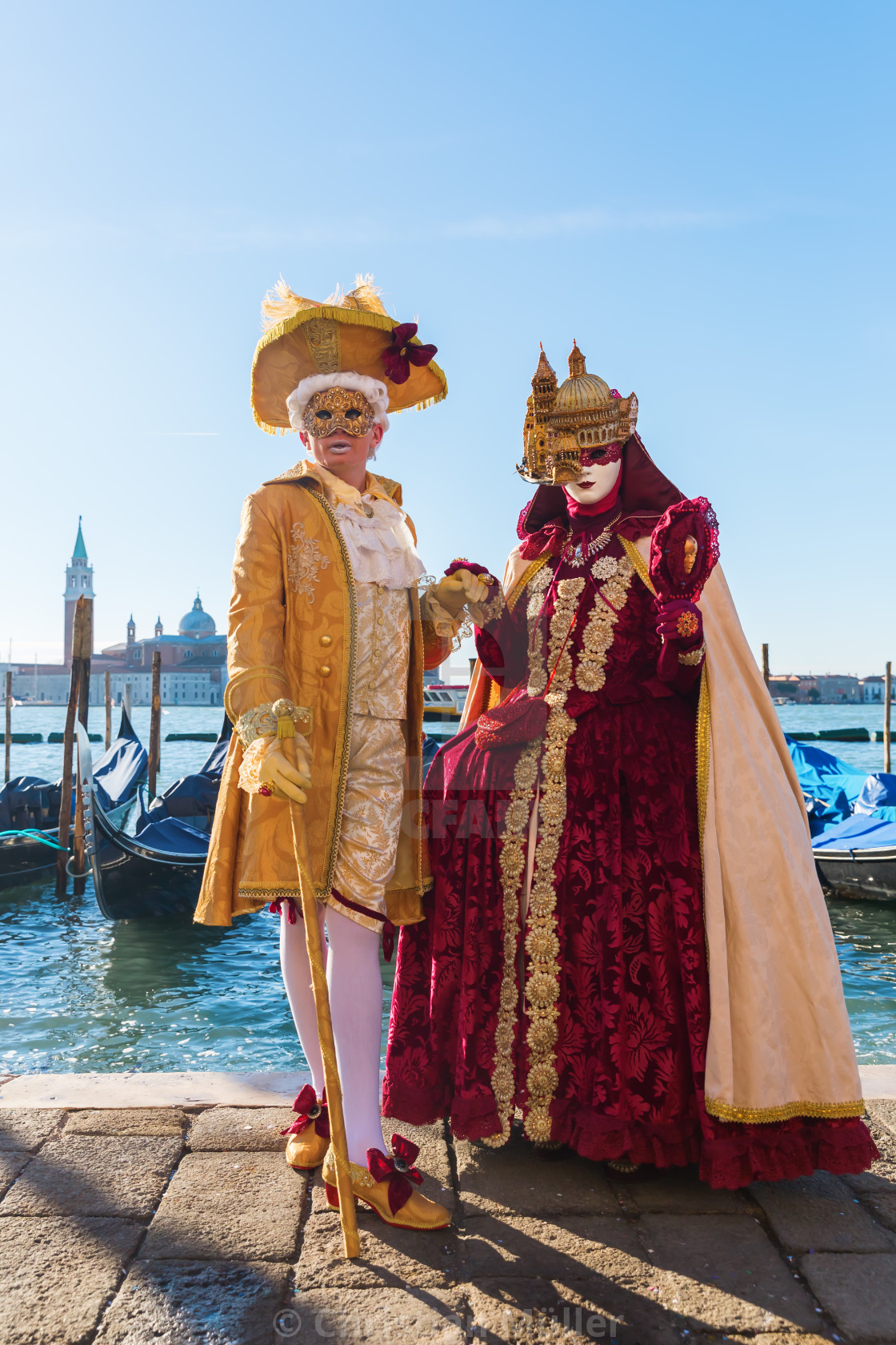 """""""disguised couple at Carnival of Venice"""" stock image"""