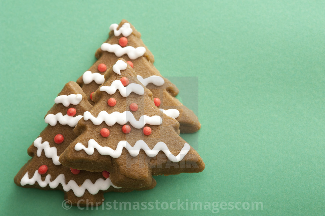 Decorative Iced Gingerbread Christmas Tree Cookies License