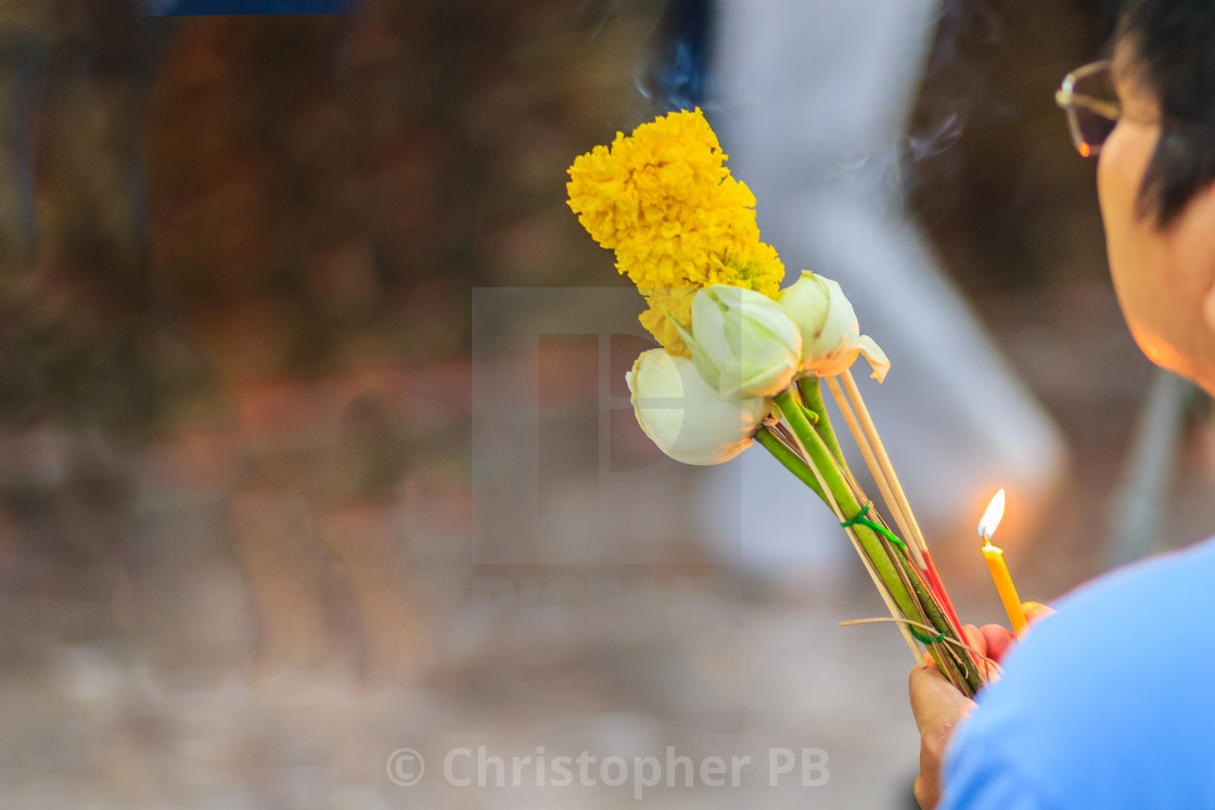 Close Up People Hands Holding Incense Sticks Candle Lotus Flower