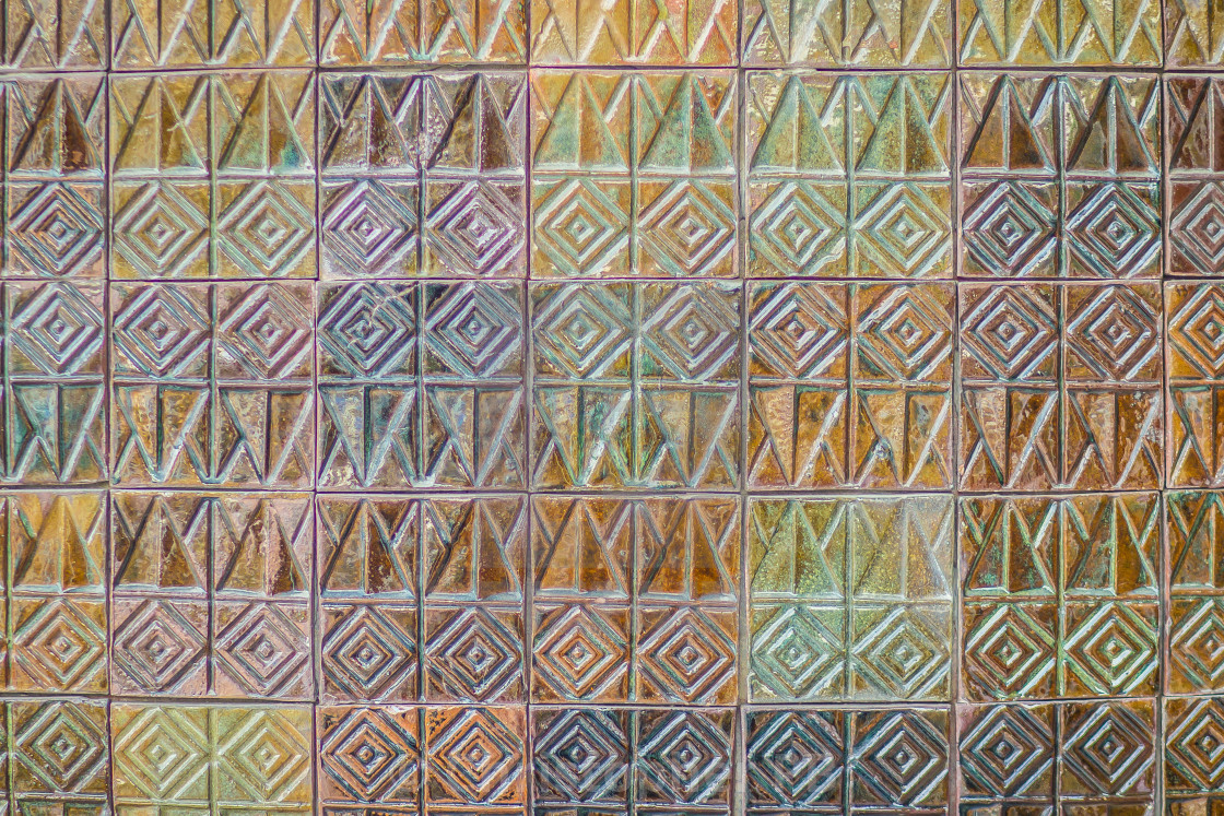Colorful Abstract Mosaic Ceramic Tiles Wall Textured Pattern