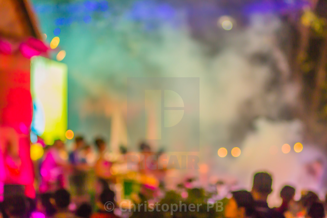 Abstract blurred focus at concert Thai music band playing