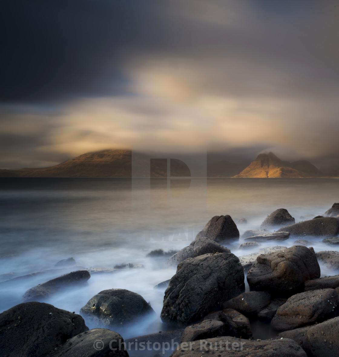 """Stormy sunset, Elgol, Isle of Skye"" stock image"