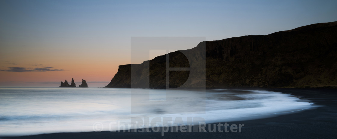 """Sunrise colours, Reynisdrangar sea stacks, near Vik, Iceland"" stock image"