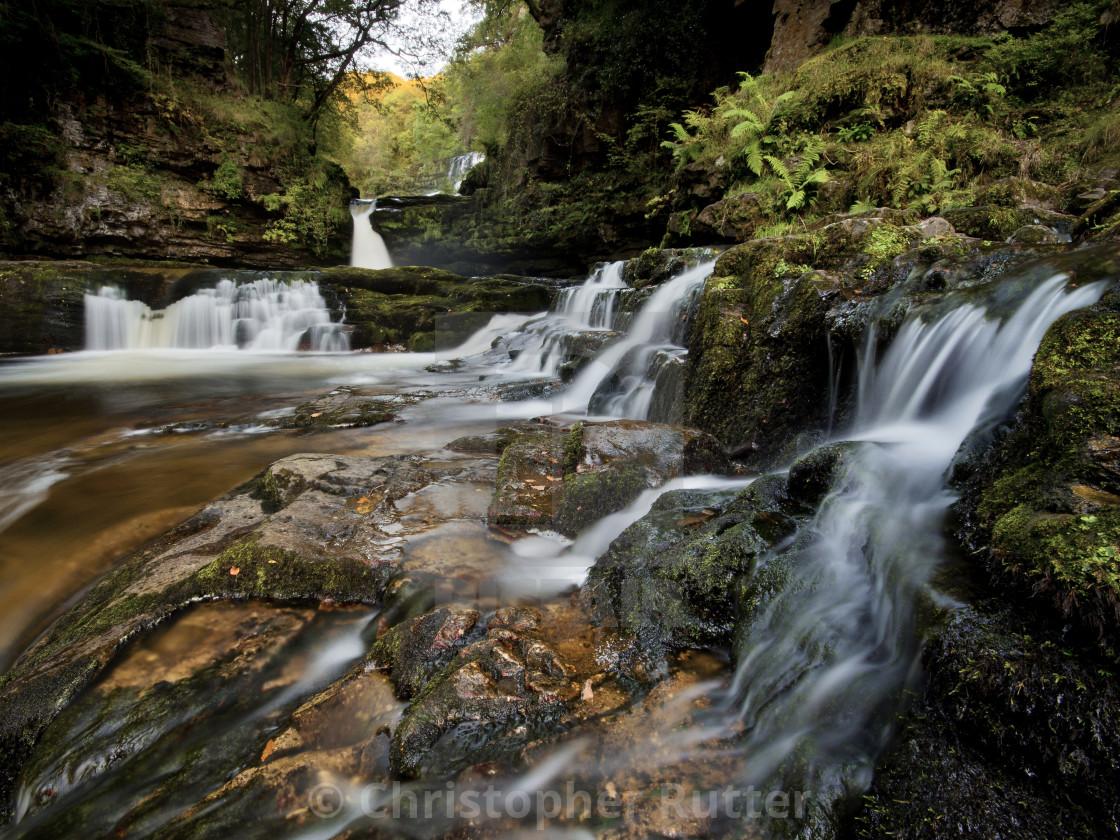 """Sgwd clyn gwyn waterfall, Brecon Beacons"" stock image"