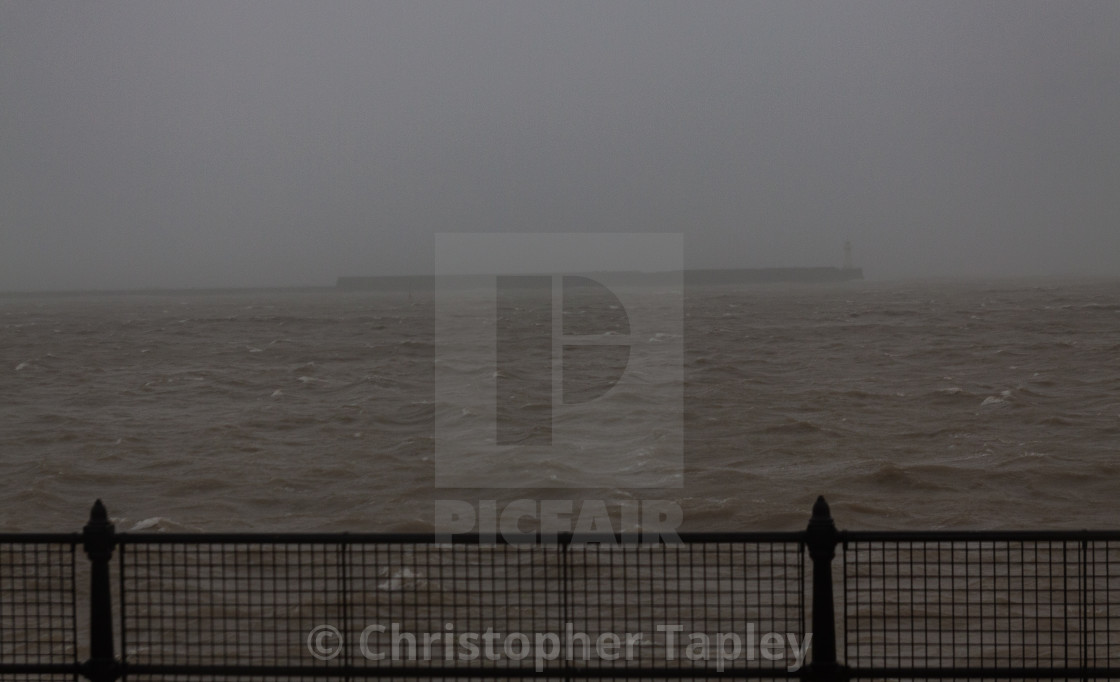 """Storm Ciara. Dover Harbour.UK"" stock image"