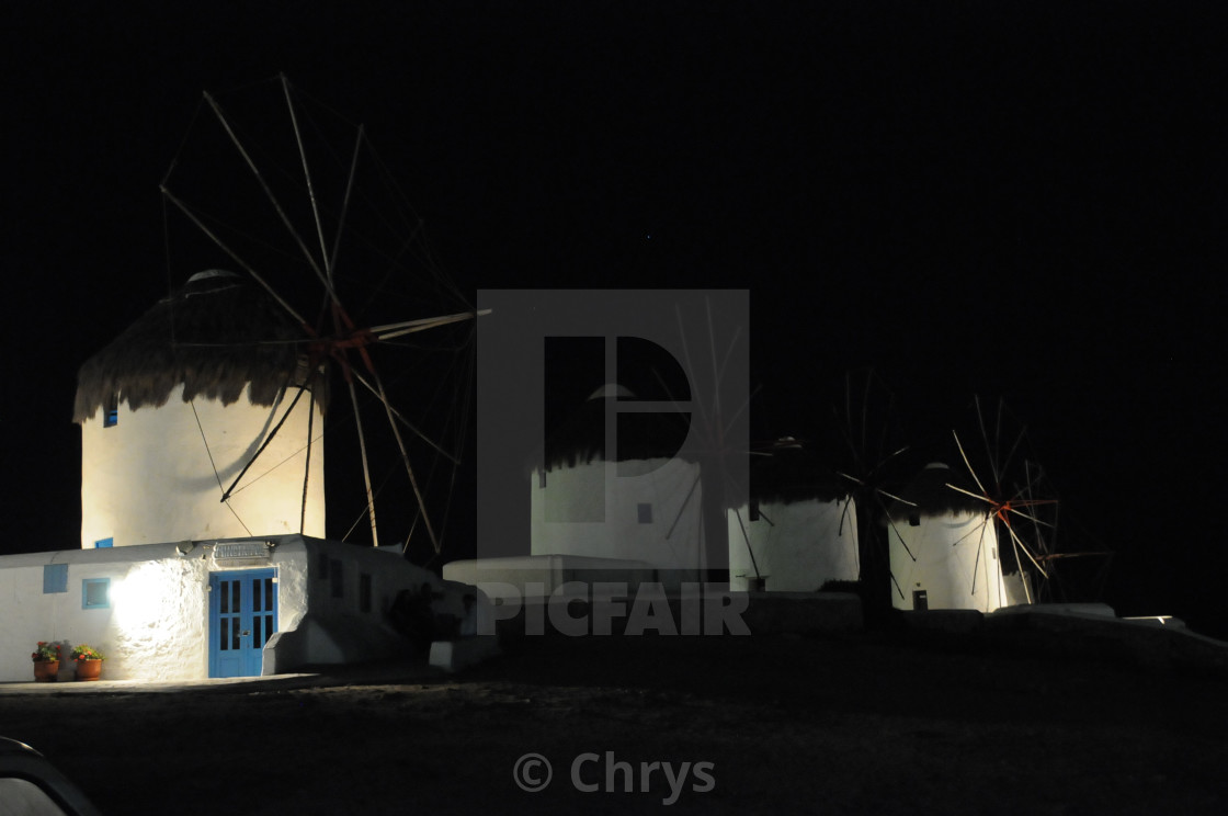 """Mykonos windmills at night"" stock image"