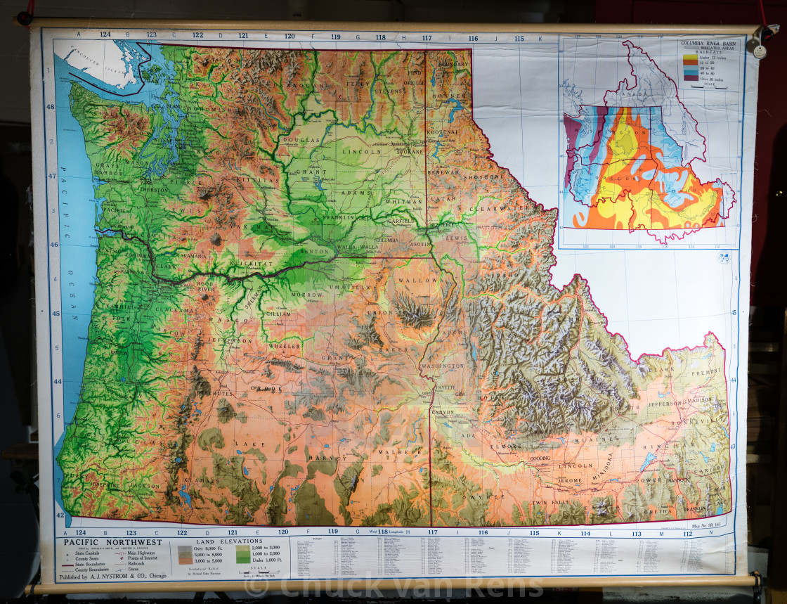 Pacific Northwest USA Map with Columbia River Basin detail ...