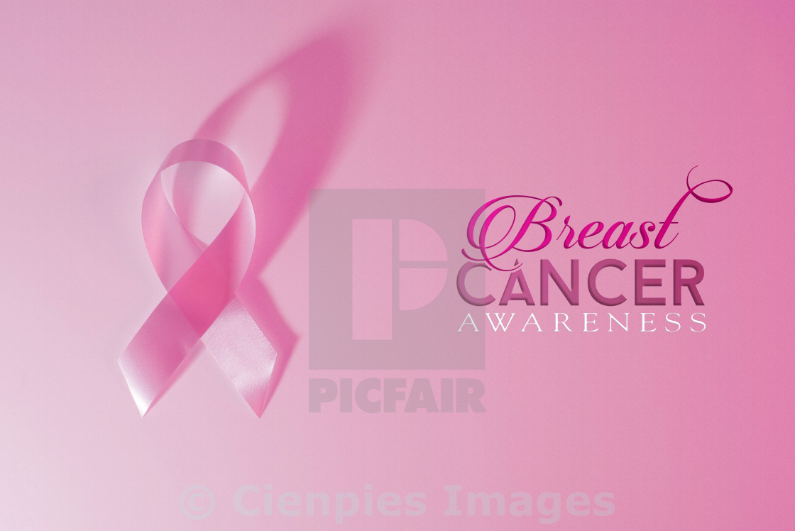 """Breast cancer awareness pink ribbon background"" stock image"