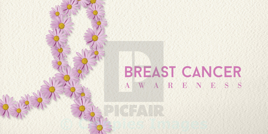 """Breast cancer awareness banner with flower ribbon"" stock image"