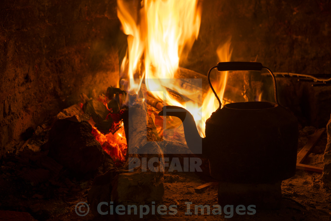 """Fire fireplace kettle wood winter holiday"" stock image"