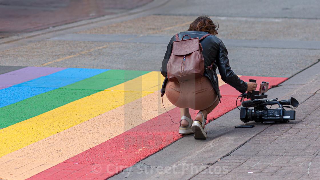 """LGBTQ2+ Pride crosswalk"" stock image"
