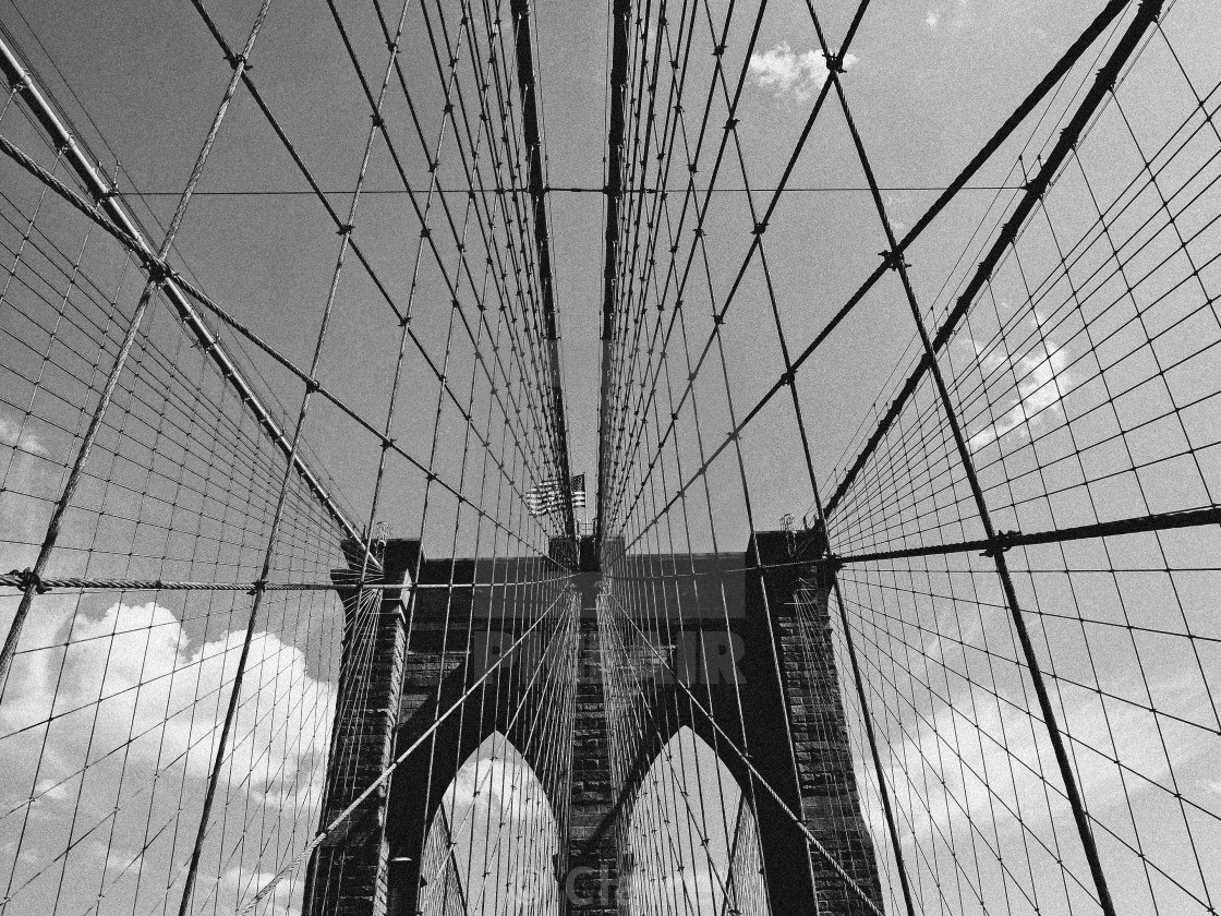 """Brooklyn Bridge, b&w"" stock image"